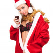 Young sexy Santa Girl with glass of wine - Stock Photo