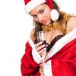 Young sexy Santa Girl with glass of wine — Stock Photo