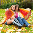 Two girls sit in the autumn park — Stock Photo