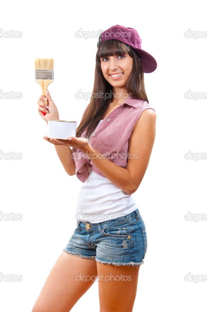  Beautiful young girl is going to paint something  Stock Photo #2576155