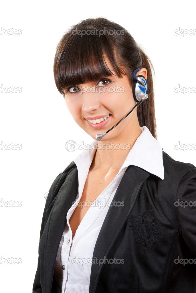 Business customer support operator woman smiling - isolated — Stock Photo #2577637