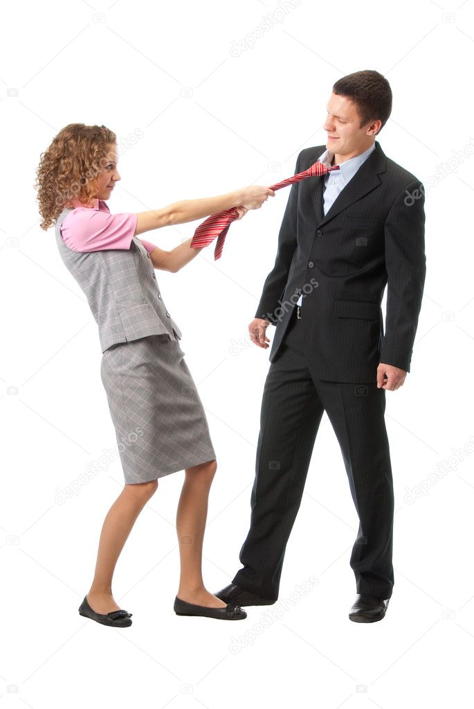 Girl pulls a man in a tie. Isolated over white — Stock Photo #2591120