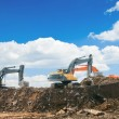 Stock Photo: Working excavators