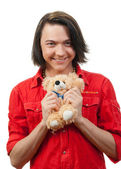 Young guy with his loved toy — Stock Photo