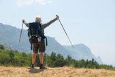Hiker on a peak — Stock Photo