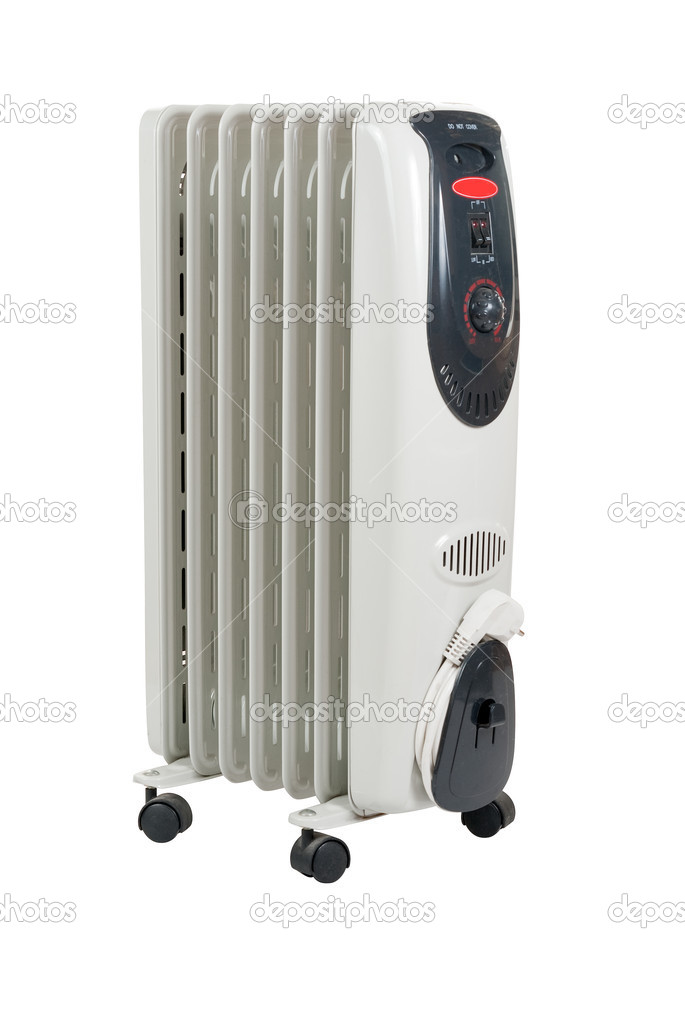 Home oil heater isolated over white in studio. Clipping path included.  Stock Photo #2606431
