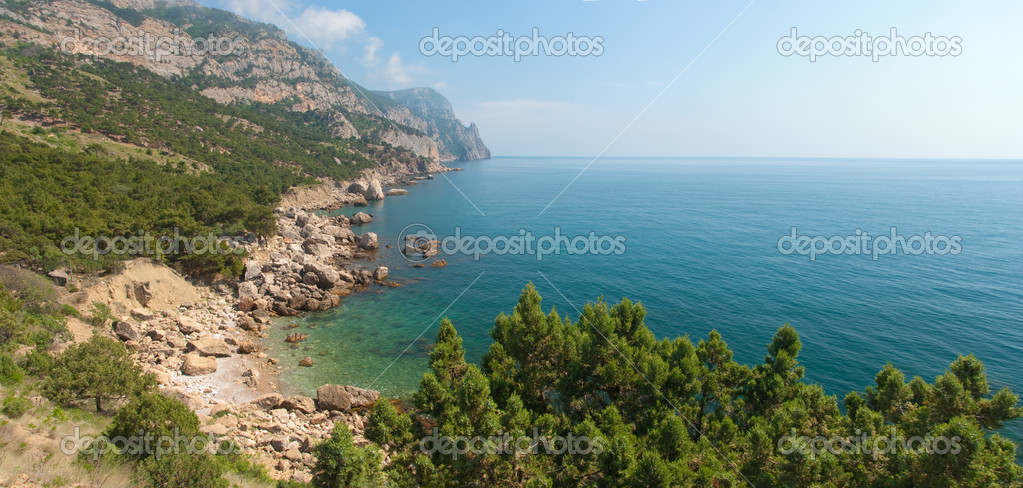 Horizontal panorama of rocky coastline of Black Sea, Crimea, Ukraine    #2607254