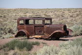 Abandoned car on Route 66 — Stock Photo