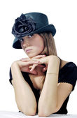 Woman in black hat 2 — Stock Photo