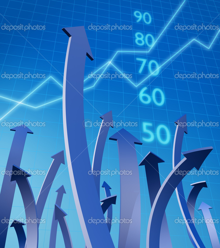 Arrows pointing up with graph and number at background 3d illustration — Stock Photo #2441192