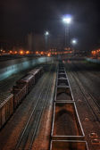 Trading trains at night — Stock Photo