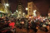 Motorbikes parked on a city street — Stock Photo