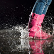 图库照片: Thrill of a puddle jump