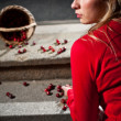 Woman dropped her cherry basket — Stock Photo