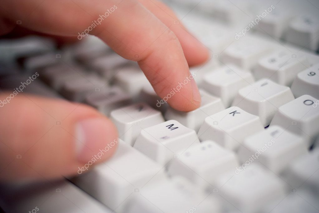 Keyboard closeup with hand — Lizenzfreies Foto #2492580