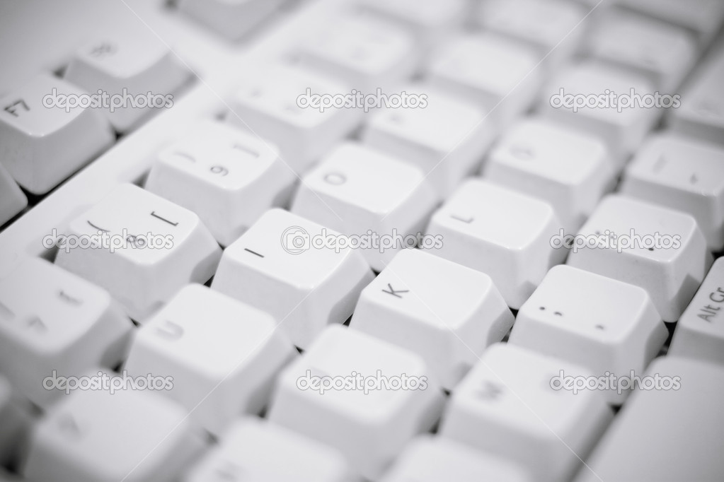 Detailed shot of a white keyboard — Stock Photo #2492590