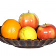 Fruits – Apples, Lemon, Orange on Tray — Stock Photo #2486751