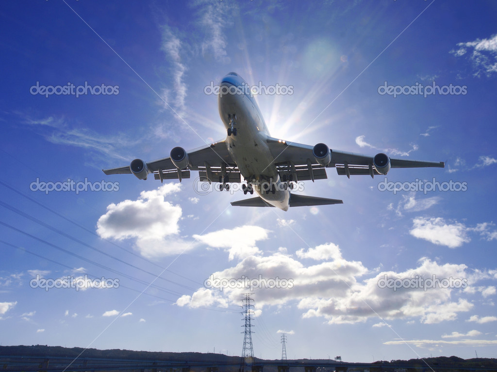 Airplane take off and sunlight  Stock Photo #2512166