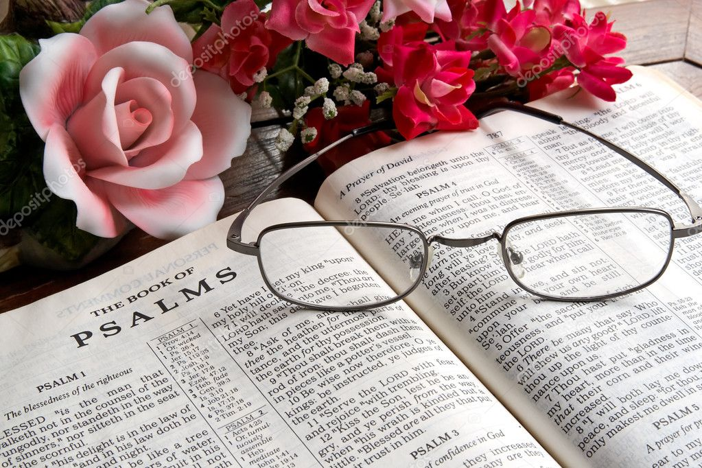 An open Bible with reading glasses lying on it and flowers in the background.  Stock Photo #2453473