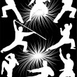 Royalty-Free Stock Vector Image: Karate fighters collection vector