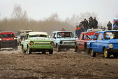 Old Soviet car races — Stock Photo