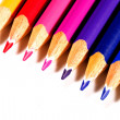 Diagonal Of Colored Pencils - Stock Photo