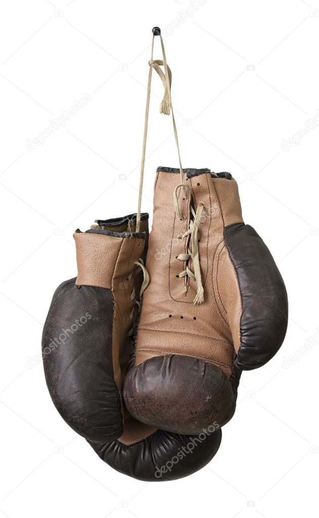 Old boxing gloves hanging on a lace  Foto Stock #2543773