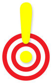 Exclamation mark mark over a target — Stock Photo