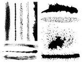 Set of grunge ink brush strokes — Stock Vector