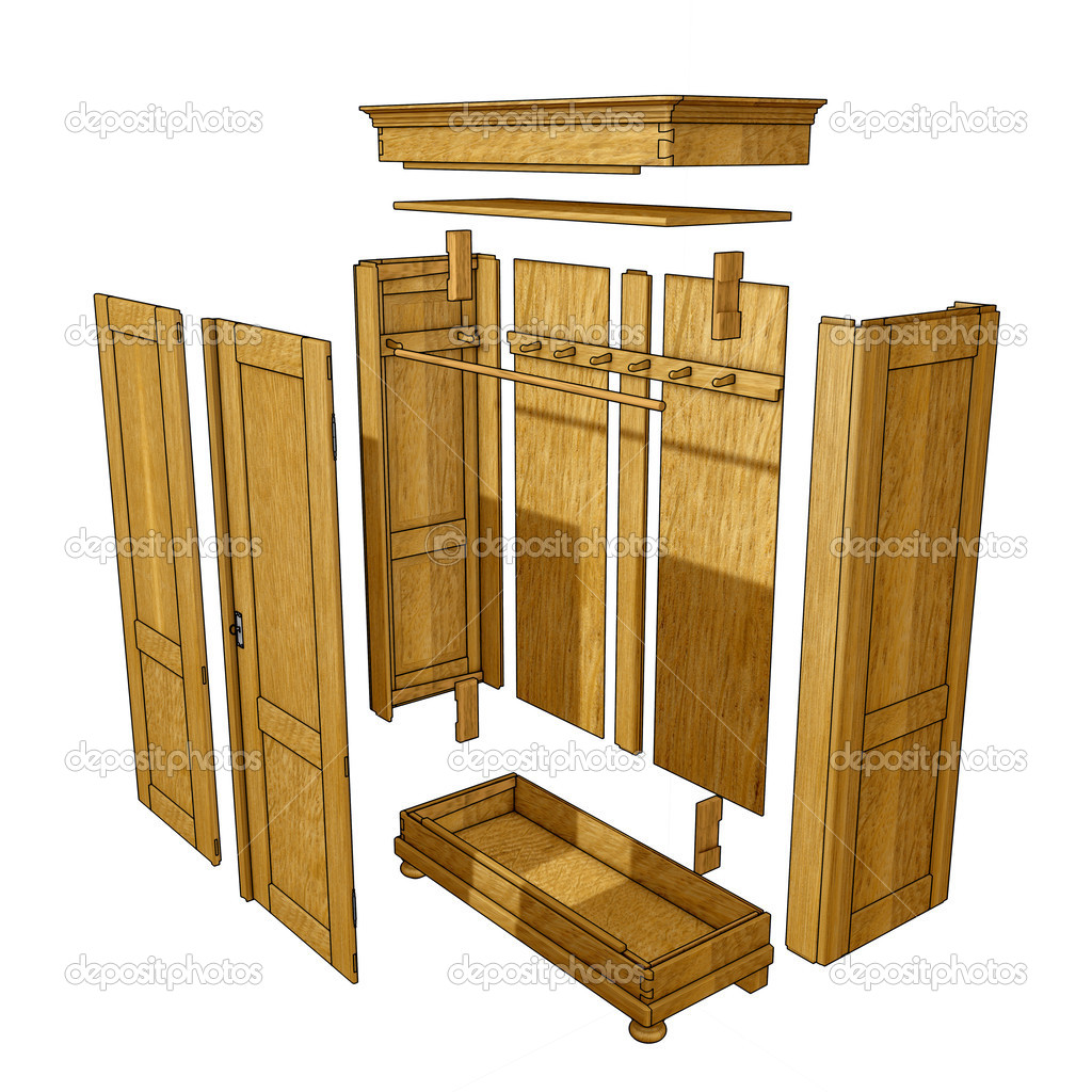 Single parts of a brown wooden wardrobe  Stock Photo #2545631