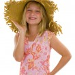 Happy little girl with summer hat — Stock Photo