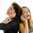 Stock Photo: Mother and daughter on phone