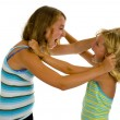Stock Photo: Two sisters fighting