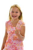Little girl showing middle finger — Stock Photo