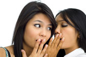 Two young asian friends gossip — Stock Photo