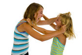Two sisters fighting — Stock Photo