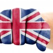 Fist with british flag isolated on white — Stock Photo