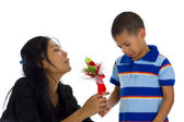 Small boy apologising to his mother — Stock Photo