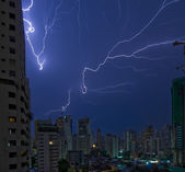 Lightning strikes in bangkok — Stock Photo