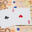 2 aces 50 euro bills — Stock Photo
