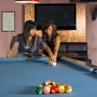 Teaching how to play pool — Stock Photo