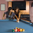 Teaching how to play pool — Stock Photo #2540573