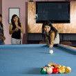 Asian girls playing pool — Stock Photo #2540648