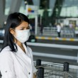 Face mask at the airport — Stock Photo