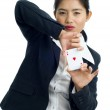 Beautiful woman with a set pokercards — Stock Photo #2542331