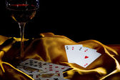 Poker ace and wine — Stock Photo