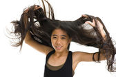 Asian teenager with long hair — Stock Photo