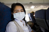 Woman with protective mask in a plane — Stock Photo