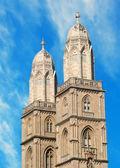 Grossmuenster towers in zurich — Stock Photo