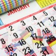 Calendar and World Flags — Stock Photo